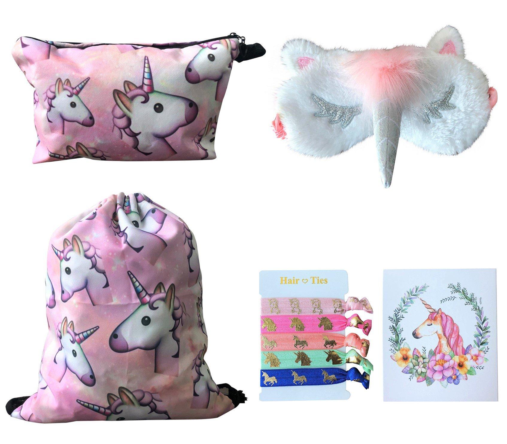 Unicorn Gifts for Girls 5 Pack - Unicorn Drawstring Backpack/Makeup Bag/Eye Mask/Hair Ties/Card (Pink)