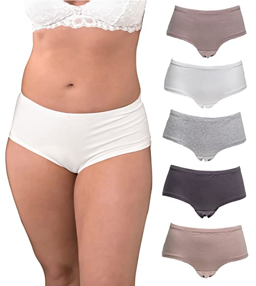 1b096eb2bd5a Emprella Underwear Women Plus Size, 5-Pack Hipster Panties, Cotton and  Spandex at Amazon Women's Clothing store:
