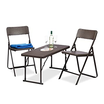 Relaxdays Gartenmöbel Set Klappbar, 3 Teilig, Polyrattan, Tisch  Höhenverstellbar, H X B