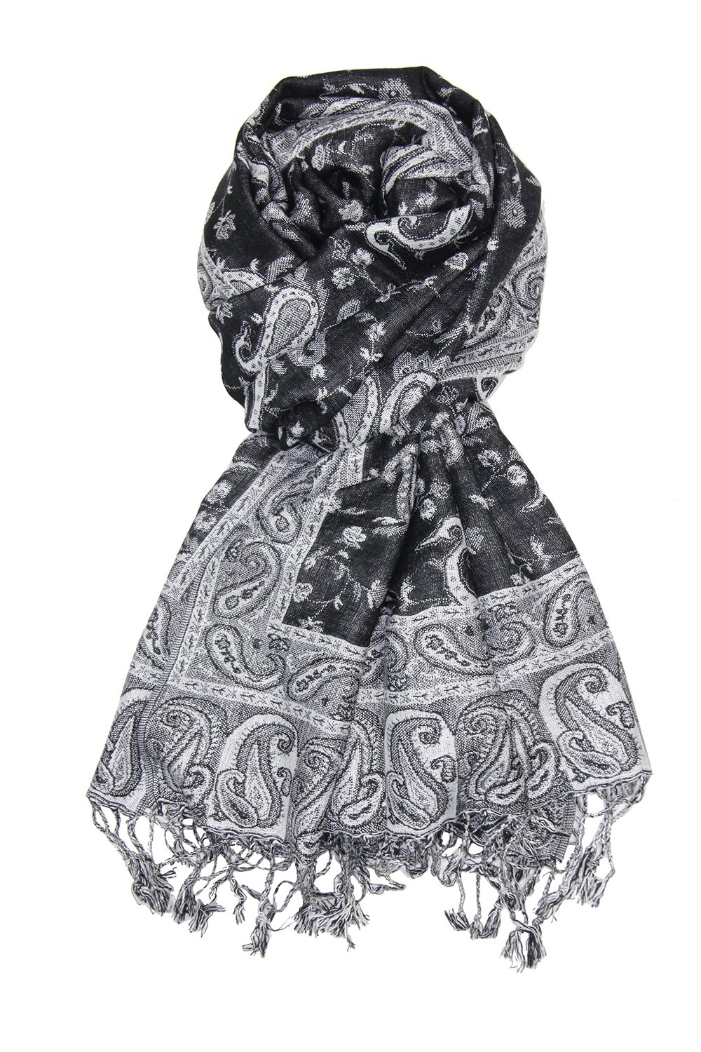 Achillea Soft Silky Reversible Paisley Pashmina Shawl Wrap Scarf w/Fringes