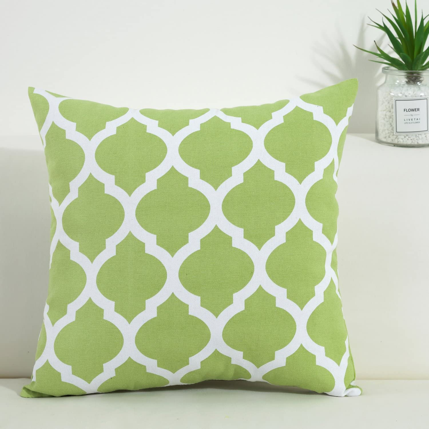 TAOSON Green and White Decorative Cushion Cover Pillow Cover Pillowcase Cotton Canvas Moroccan Quatrefoil Pattern Print Square Two Sides with Hidden Zipper Closure Only Cover 26x26 Inch 65x65cm