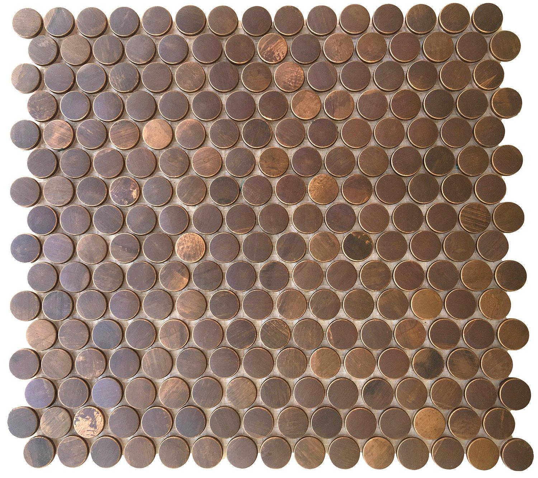 Amazon Eden Mosaic Tile Penny Round Antique Copper Mosaic Tile