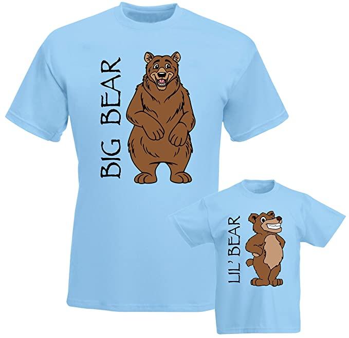 f3d0e17b9a3 SuperPraise Father Daddy Daughter Dad Son Matching T Shirts Big Lil  Little  Bear  Amazon.co.uk  Clothing