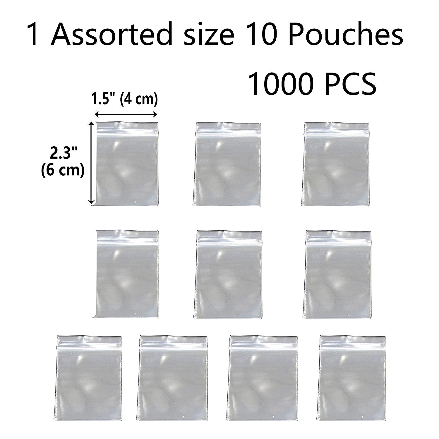 1000 Pack 2 Mil Thick Poly Ziplock Bags, 1.5x2.3 Inch. Clear Durable Food Grade Safe PP Plastic Resealable Zipper Baggies for Jewelry, Bead, Toy Piece, Pill, Snack JBingGG