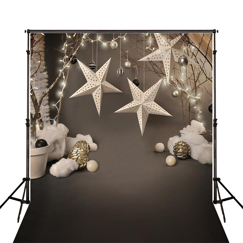5 x 7 Photography Backdrops Gray Christmas Star Computer Printed Custom Children Photography Backdrops for Photo Studio
