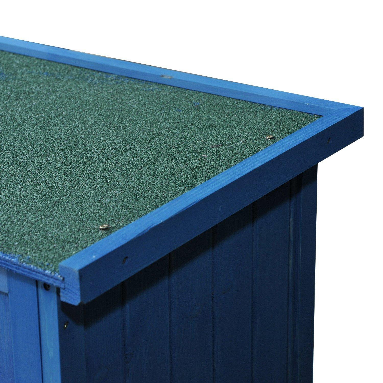 Outsunny Cobertizo de Madera con Almacenaje para Herramientas de Jardinería y Persiana Delantera 87x46,5x160cm (Azul): Amazon.es: Hogar