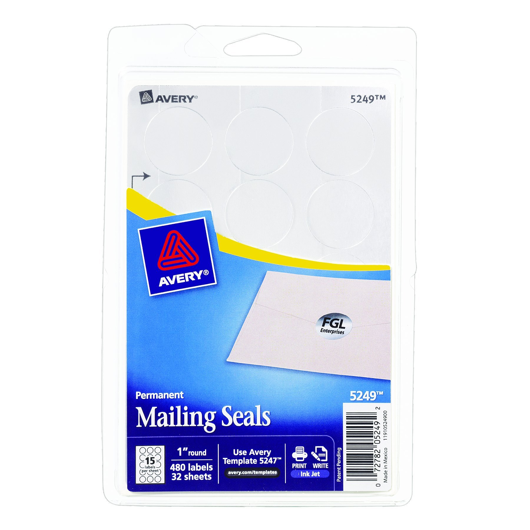 Avery Dennison 5249 Silver Seals, 1 in. Diameter, Silver, 480/Pack
