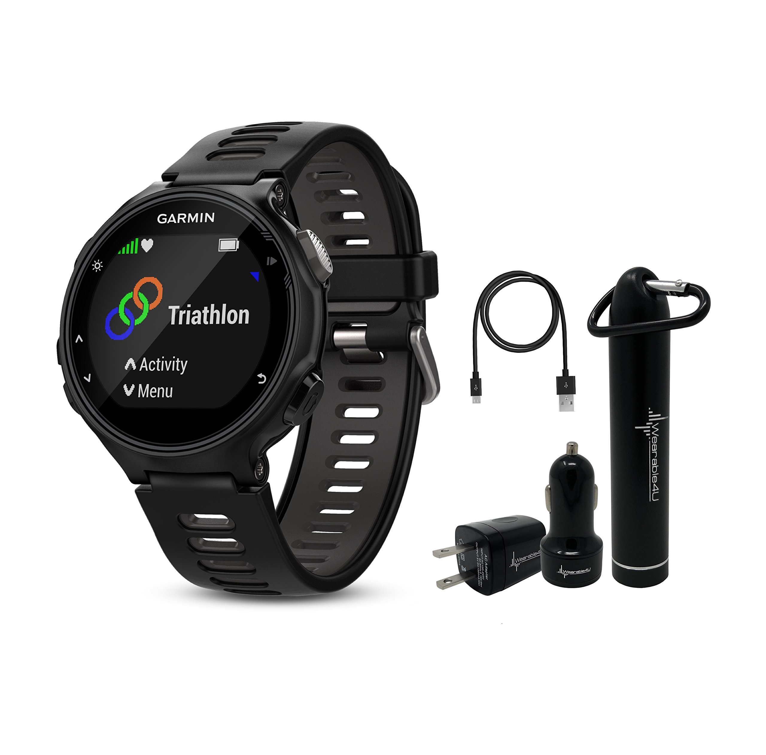 Garmin Forerunner 735XT GPS Running Watch with Multisport Features and Wrist-based Heart Rate and Wearable4U Ultimate Power Pack Bundle (Watch Only, Black/Gray)