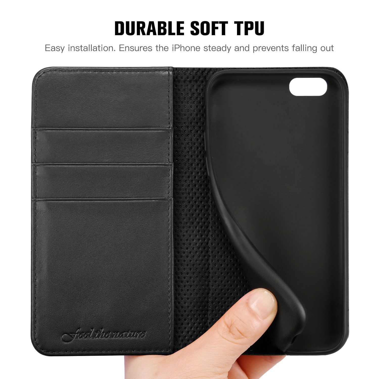 hot sale online febcd b0cc2 iPhone 6s Case, SHIELDON Genuine Leather Wallet Case, Slim Flip Book  Magnetic Cover with Stand Function, Cards Slots Compatible with iPhone 6s  and ...