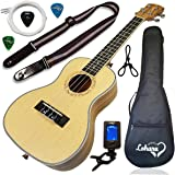 Ukulele from Lohanu Spruce Top Zebra Wood Sides & Back With All Accessories Included (Concert)