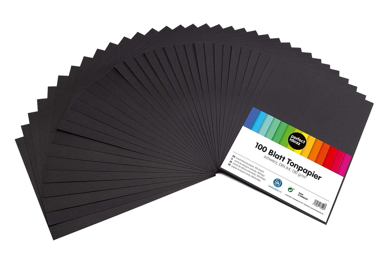perfect ideaz cartoncini di carta da zucchero neri fogli per bricolage di alta qualit/à 100 fogli per bricolage nero in formato A4 colorazione integrale spessore 130g//m/²