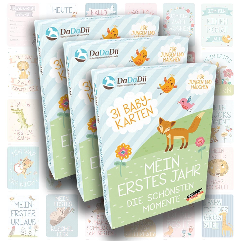Zur Geburt Schwangerschaft Lebensjahr Ideal als Geschenk f/ür Zwillinge Geschenkset f/ür Junge und M/ädchen 2er Set von DaDaDii Taufe oder Weihnachten Baby Meilenstein-Karten f/ür das 1