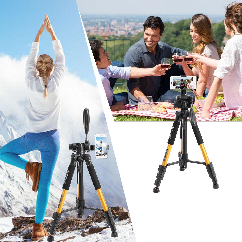 Orange Load 5kg Mactrem PT55 Travel Camera Tripod Lightweight Aluminum for DSLR SLR Canon Nikon Sony Olympus DV with Carry Bag -11 lbs