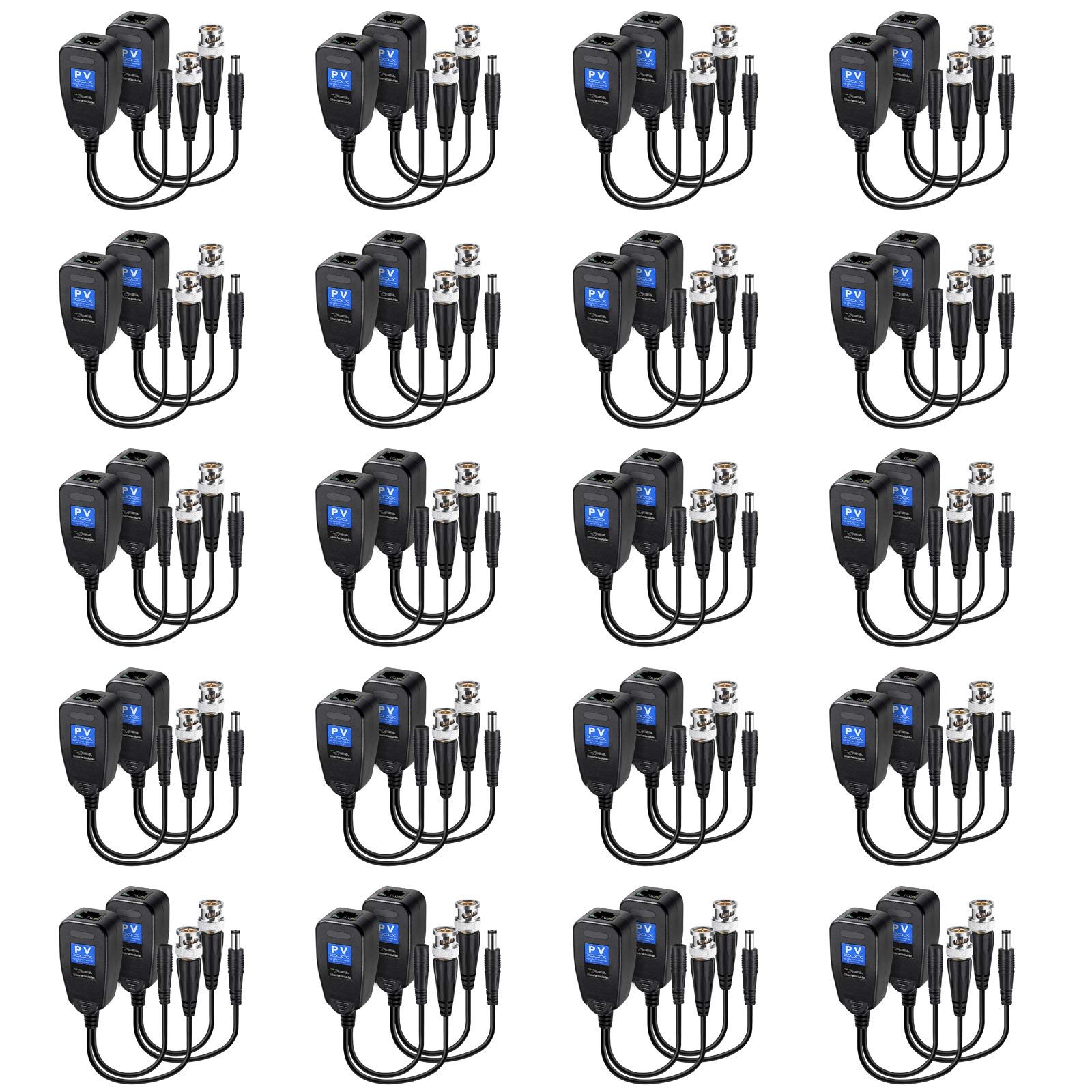 20 Pairs Passive Video Balun RJ45 Transceiver Transmitter HD-CVI/TVI/AHD/CVBS with DC Built-in Transient Suppression Protection for 1080P/2MP CCTV Security DVR Surveillance Camera System