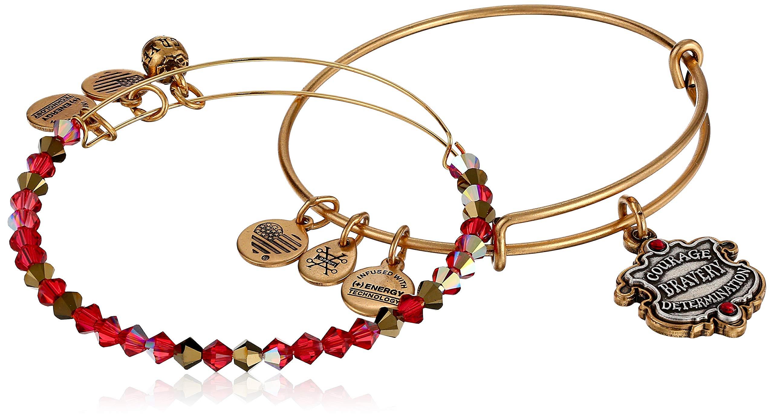 Alex and Ani Women's Harry Potter Gryffindor Motto Set of 2 Two Tone Bracelet, Rafaelian Gold