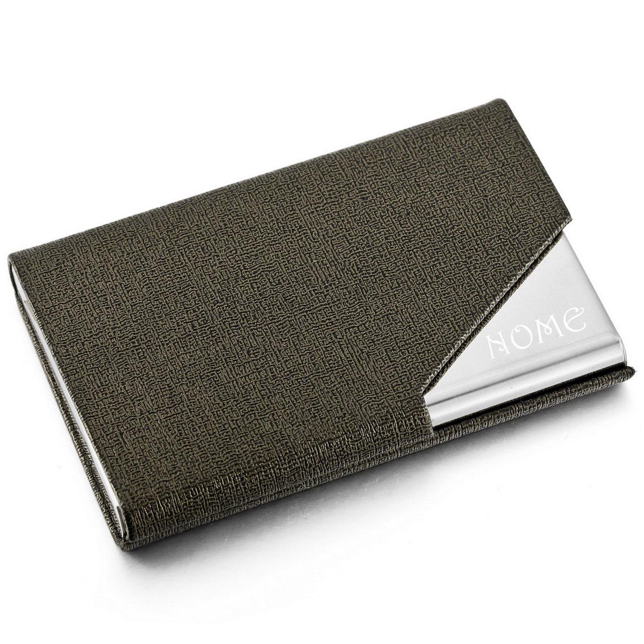 MeMeDIY Tono Argento Acciaio Inossidabile Pelle Carta Cassa Lavoro Carta Titolare - personalizzato incisione it3010013-05