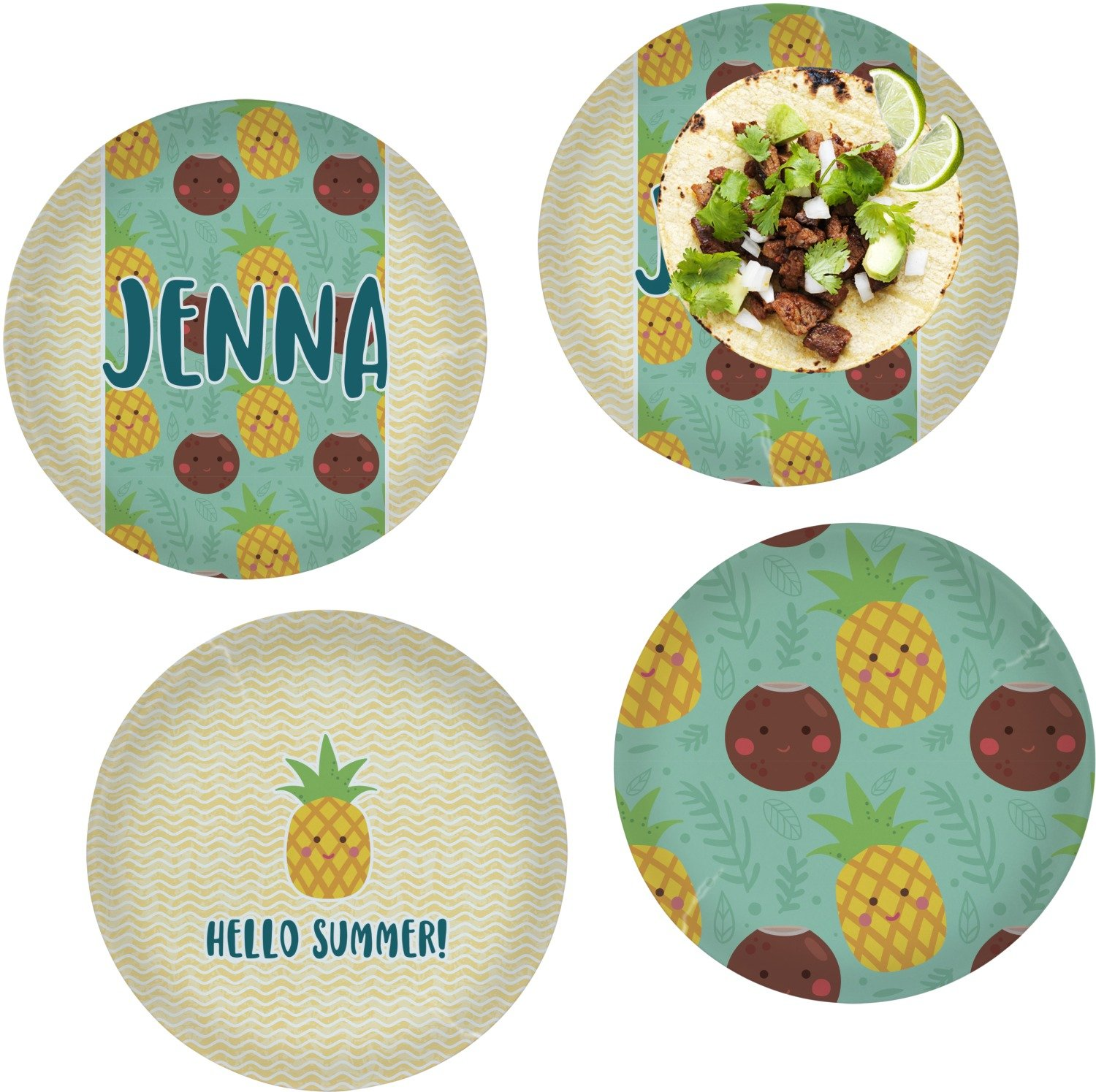 Pineapples and Coconuts Set of 4 Lunch / Dinner Plates (Glass) (Personalized)