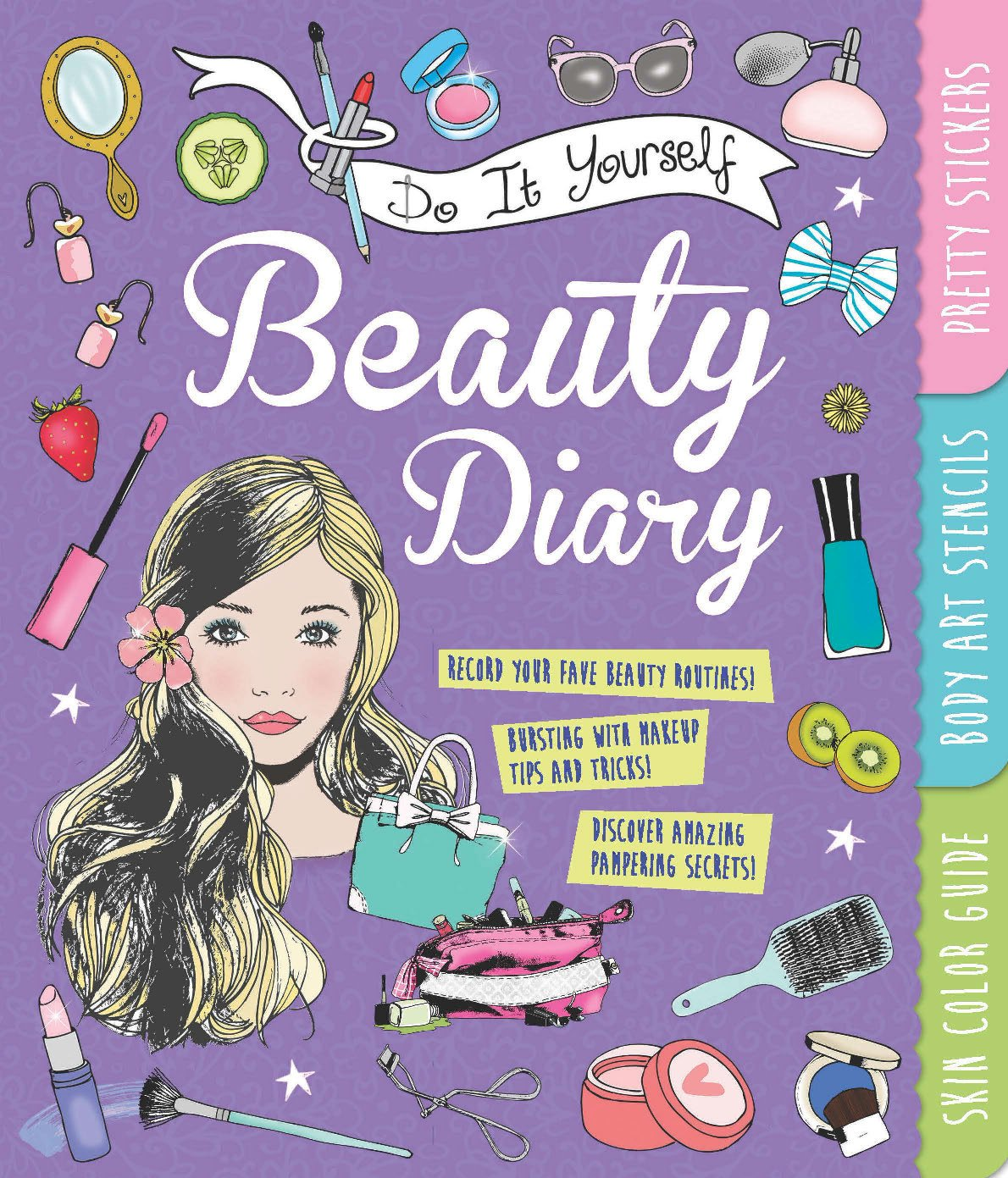 Do it yourself beauty diary with pretty stickers body art stencils do it yourself beauty diary with pretty stickers body art stencils and a skin color guide amazon caroline rowlands 9781438006161 books solutioingenieria Choice Image