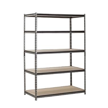 Muscle Rack UR482472PB5PAZ-SV Silver Vein Steel Storage Rack, 5 Adjustable Shelves, 4000 lb. Capacity, 72  Height x 48  Width x 24  Depth