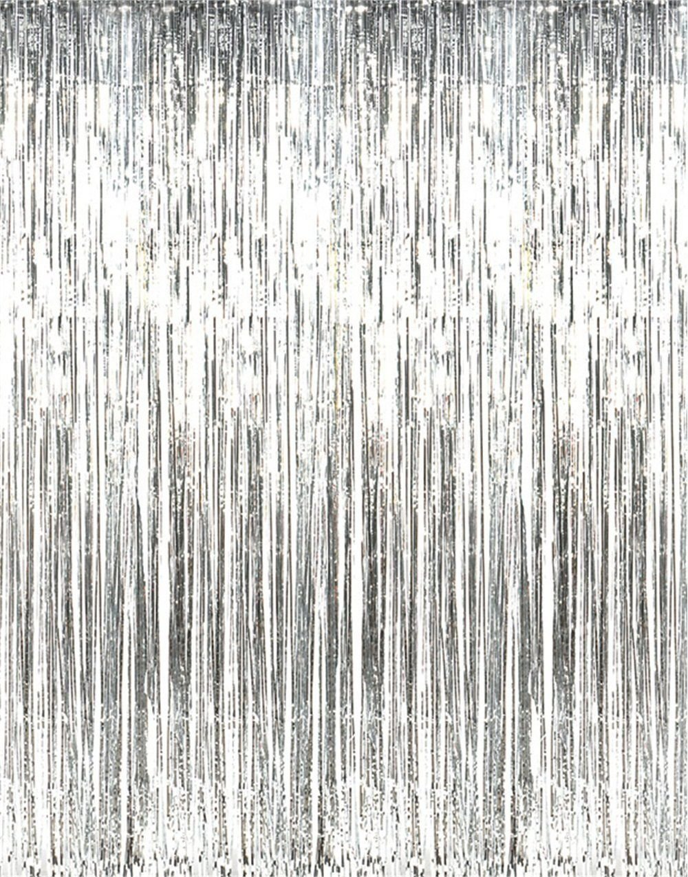 Amazon 2 X 3 8 Silver Tinsel Foil Fringe Backdrop Door Window Curtain Party Decoration Home Kitchen
