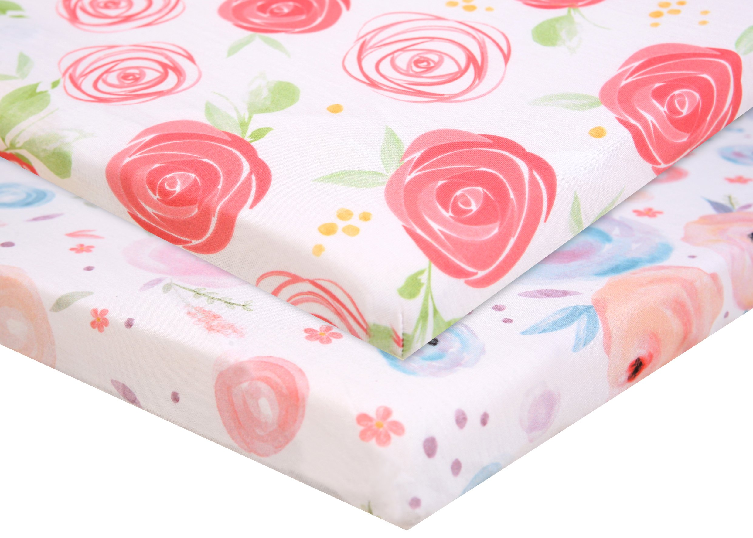 Pack n Play Fitted Pack n Play Playard Sheet Set-2 Pack Portable Mini Crib Sheets,Playard Mattress Cover,Super Soft Material, Flowers by Luxuriously Soft-NEW YORK