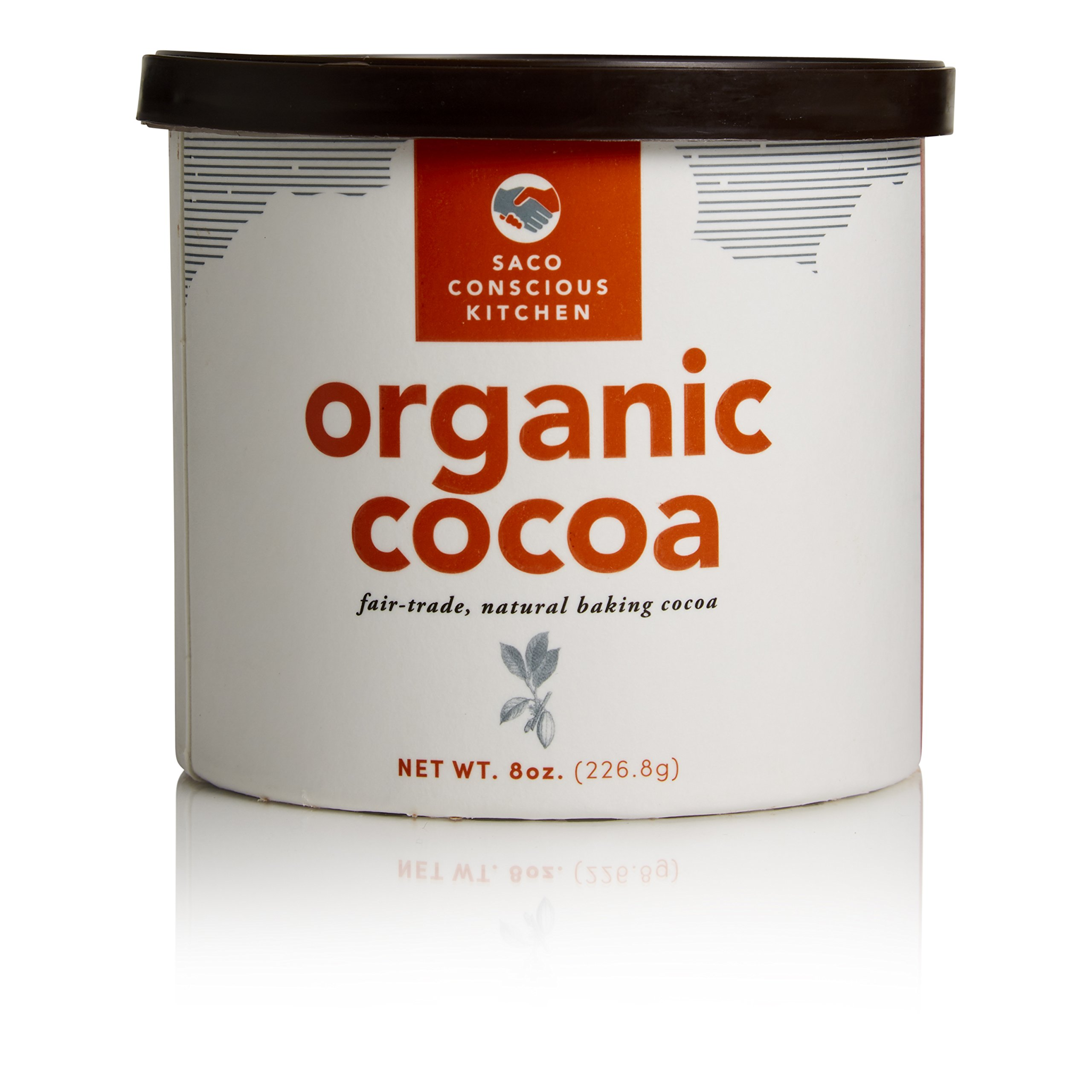 SACO Conscious Kitchen Certified Organic Cocoa, Fair-Trade, Natural Baking Cocoa, Gluten-Free, Nut-Free, Non-GMO, 8oz, Pack of 2