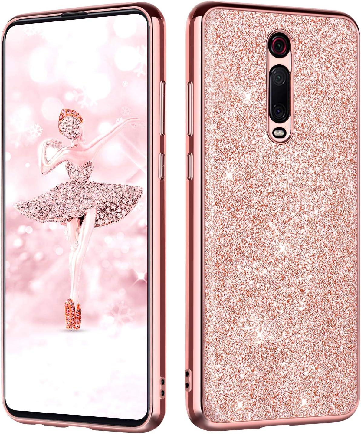 BENTOBEN Funda Xiaomi Mi 9T/Xiaomi 9T Pro Purpurina Carcasa Ultra Delgada Cover Case Brillante Resistente Suave Silicona PC Protectora a Prueba de Golpes Fundas para Xiaomi Mi 9T 6.39'', Oro Rosa
