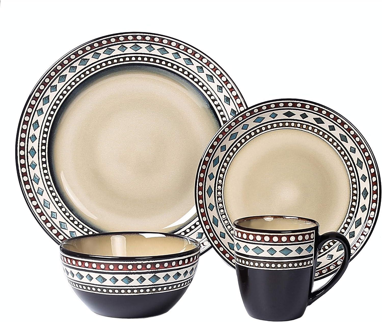 Lorren Home Trends Glazed Dinnerware Set, Mixed