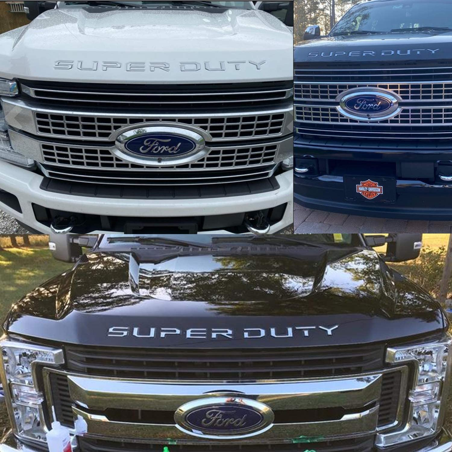 Hood//Grille Letters Inserts Inlays Decals Stickers for 2017-2020 Ford Super Duty F250 F350 F450 Accessories