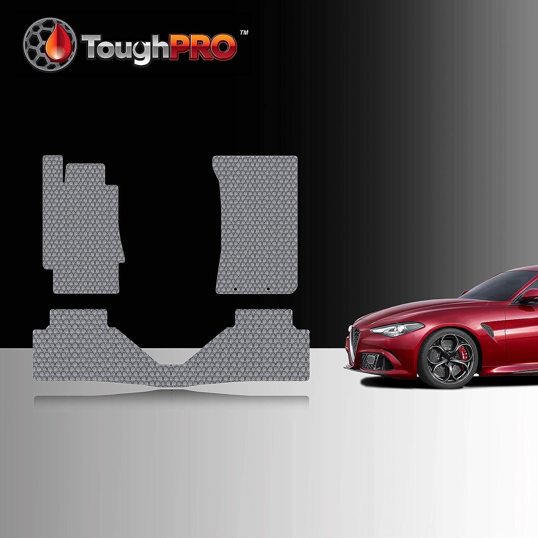 TOUGHPRO Floor Mat Accessories Set Compatible with Alfa Romeo Giulia Quadrifoglio - All Weather - Heavy Duty - Custom Fit - (Made in USA) - Gray Rubber - 2017, 2018, 2019, 2020