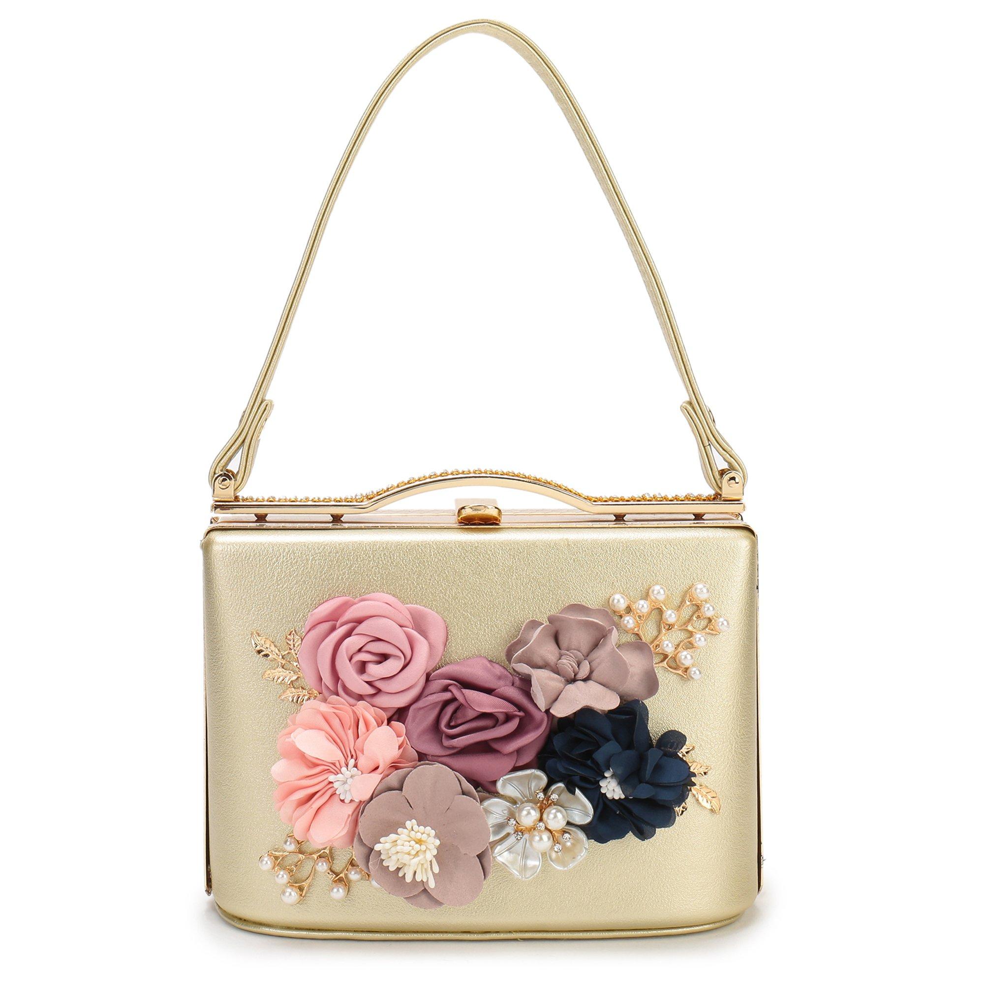 Women's Satin Flower Evening Clutch Bags Pearl Beaded Evening Handbag For Prom Bride Wedding (Gold)
