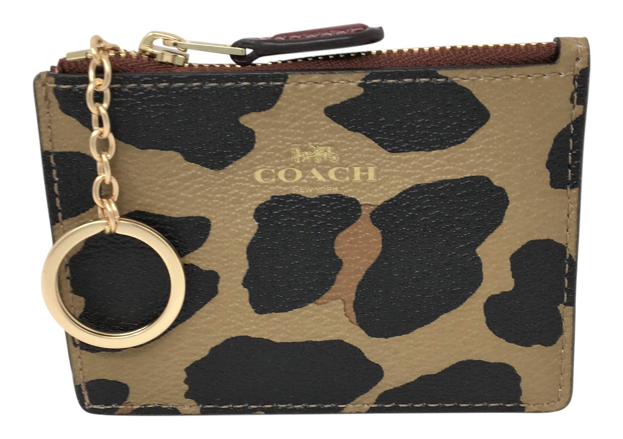 Coach Coated Canvas in Leopard Print Mini Skinny ID Badge Card Case F39081