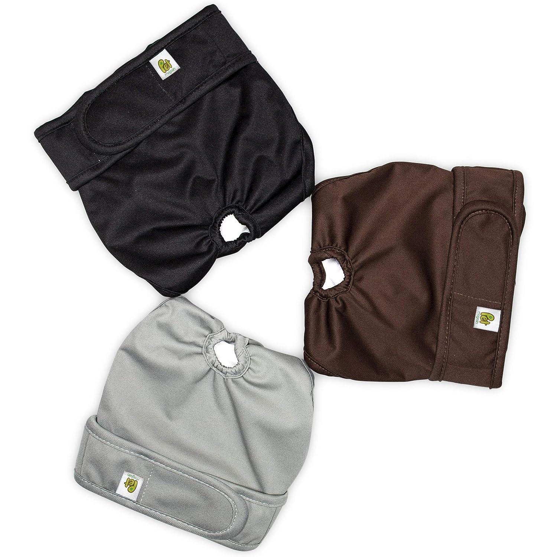 3-Pack Black Brown and Grey Pet Magasin Reusable Dog Diapers Sanitary Wraps Panties Small