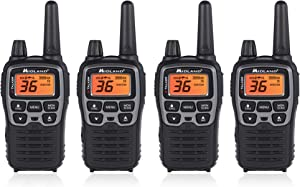 "Midland T71VP3 36 Channel FRS Two-Way Radio - Up to 38 Mile Range Walkie Talkie - Black/Silver (Pack of 4), 6.2"" x 1.3"" x 2.3"", Model Number: T71X4VP3"