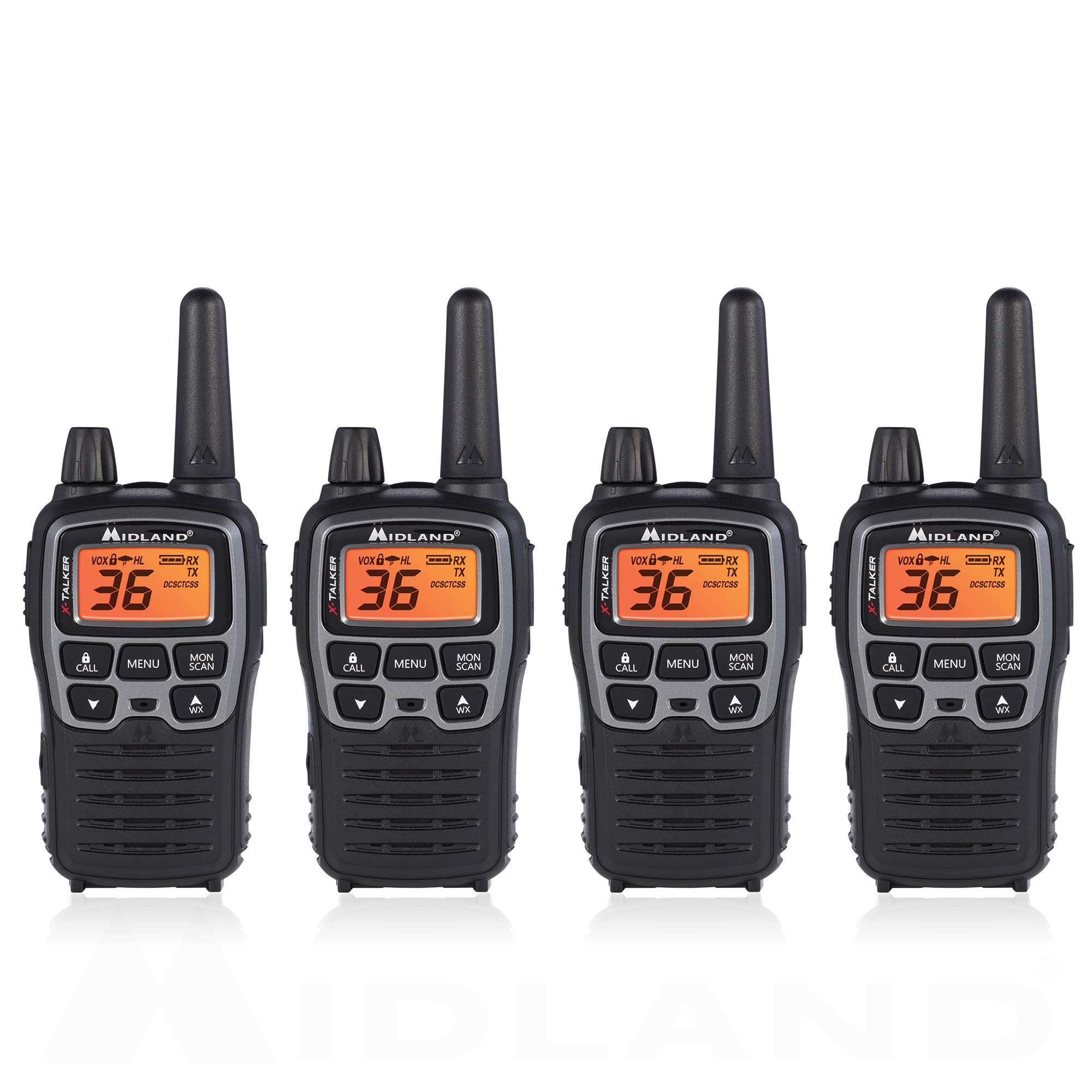 Midland T71VP3 36 Channel FRS Two-Way Radio - Up to 38 Mile Range Walkie Talkie - Black/Silver (Pack of 4) by Midland