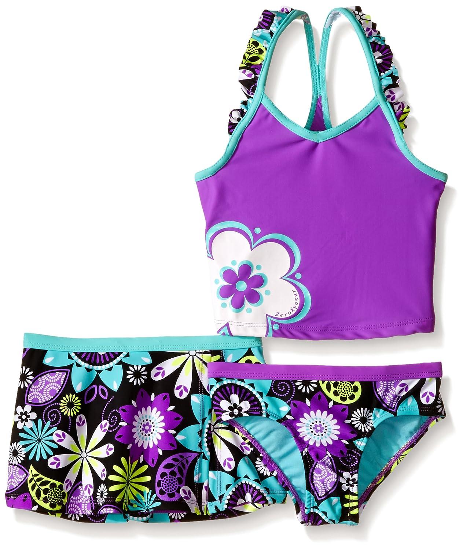 ZeroXposur Girls' Magic Garden Tankini Swimsuit with Skirt 8352