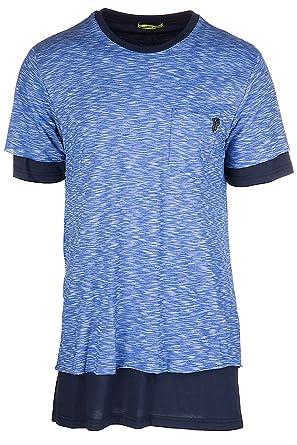 608ea8d58c5d Versace Jeans Men s Short Sleeve t-Shirt Crew Neckline Jumper Jersey  Regular Flame funaki blu