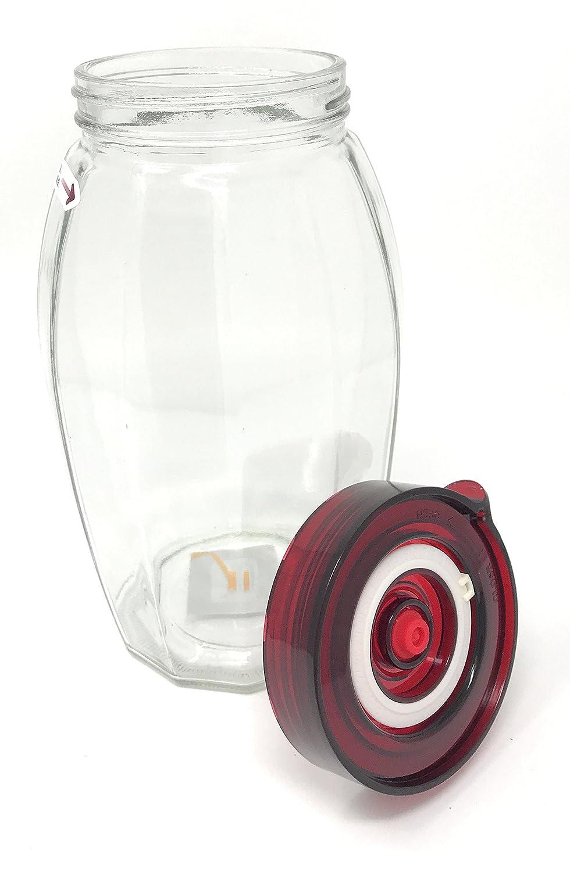couvercle large facile /à ouvrir et joint en silicone Bocal de fermentation avec valve de d/écompression d/'air /à sens unique id/éal pour les choucroutes et kimchis 1.2 Litre