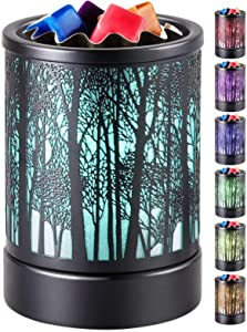 kanlarens Wax-Melt Warmer for Scented Wax-Melter Candle Electric-Burner - Fragrance Oil Heater with 7 Colors Led Changing Light for Home Decor (Black Tree Colorful)
