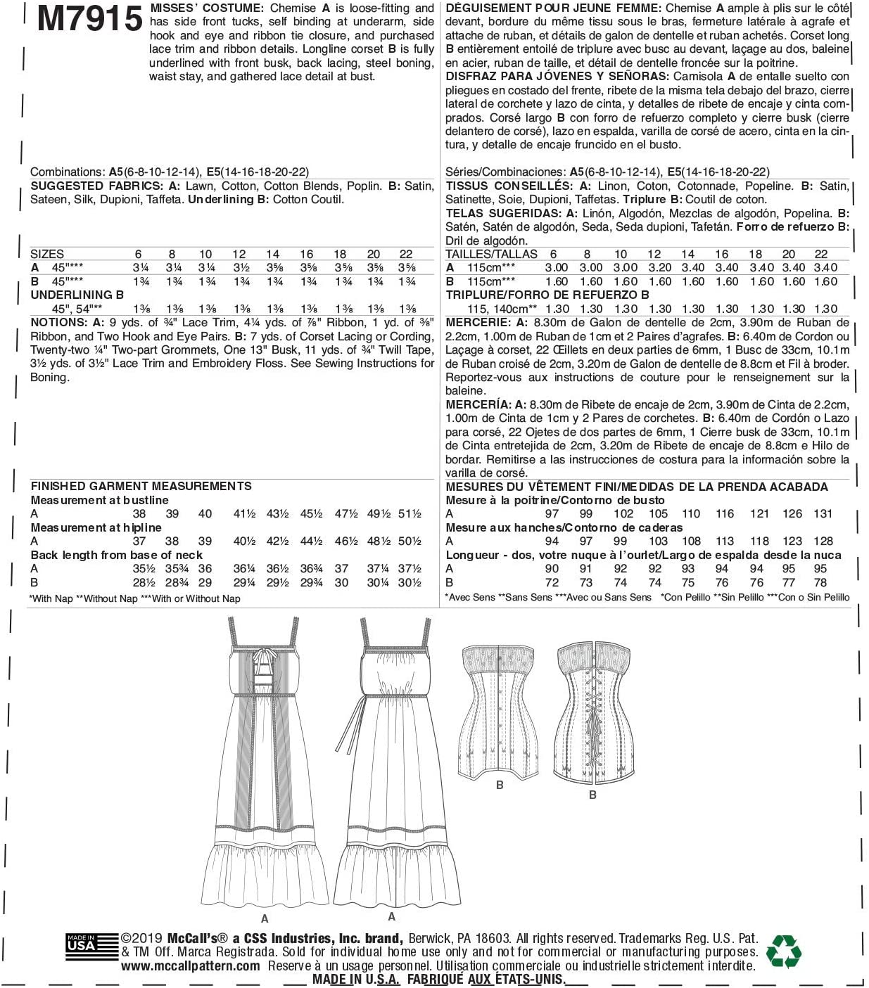 8409 PATRON McCALL/'S  8 VERSIONS CHEMISE CHIC ELEGANTE    TAILLE S AU XXXL