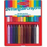 Melissa & Doug Triangular Crayons - 24-Pack in Flip-Top Case, Non-Roll