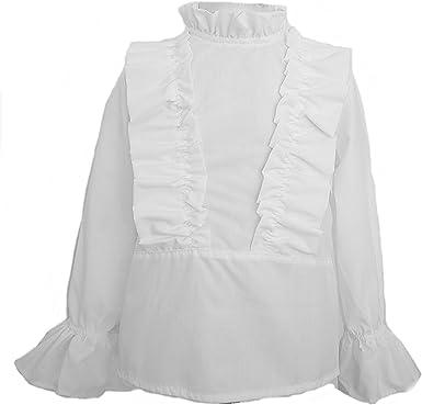 Camisas para Bebé y Niñas Blanca | Volantes en Pecho y Puños | Tallas de Entre 3 y 10 Años | Fabricadas en España: Amazon.es: Ropa y accesorios