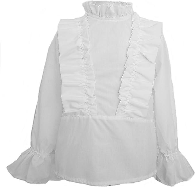 Camisas para Bebé y Niñas Blanca   Volantes en Pecho y Puños ...