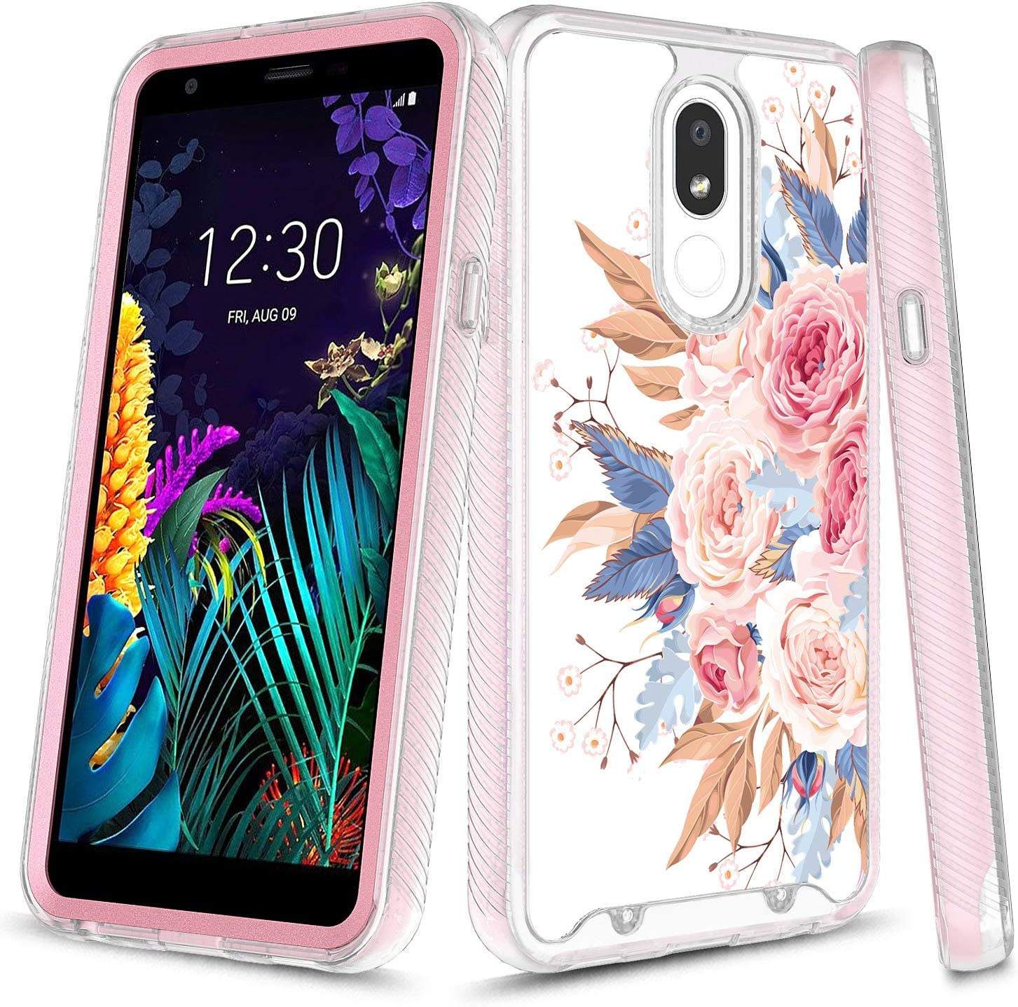 LG Aristo 4+ Case, LG Arena 2 Case, LG Escape Plus Case, LG Journey LTE Case, LG Prime 2 Case, LG Tribute Royal Case, Onyxii Graphic Rugged Clear Hybrid Bumper Case for LG X320 (Pink Flower)