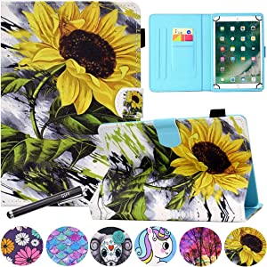 10 Inch Universal Case, GSFY Pretty Folio Stand Protective Case with Card Pocket for iPad/Samsung/Kindle/Huawei/Lenovo/Android/Dragon Touch 9.6 9.7 10 10.1 10.5 11 Inch Tablet - Big Sunflower
