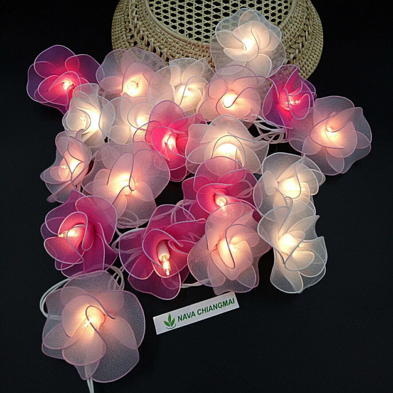 NAVA CHIANGMAI Thai Vintage 20 Flowers Romantic String Lights Plug In, Fairy Flora Decorated, Decorative Lights Wedding Gardens Party Valentine's Day Christmas Decoration (Pink & White)