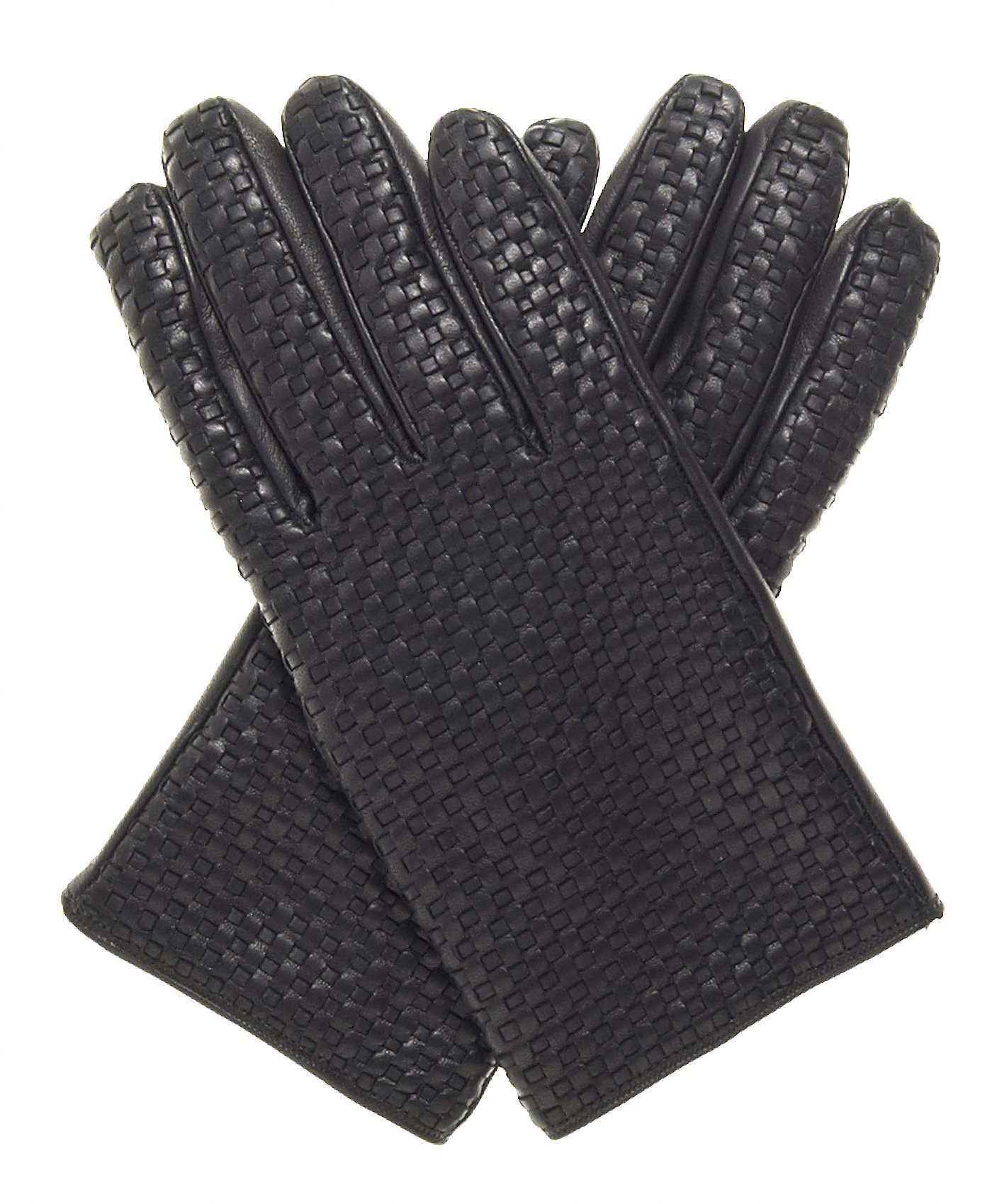 Fratelli Orsini Men's Woven Leather Gloves With Cashmere Lining Size 9 Color Black