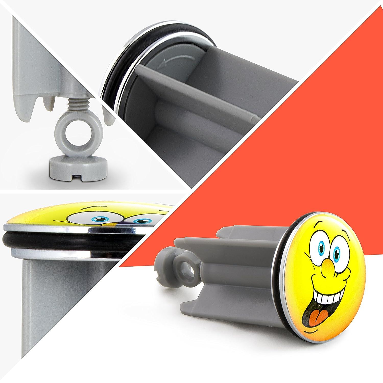 Design Smiley Face ca Tappo saltarello per lavandino 7 x 4 x 4 cm Grinscard Chiusura per lavabo con emoticon