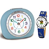 Atlanta Kinderwecker ohne Ticken mit Armbanduhr Kinder Blau - 1966-5 KAU