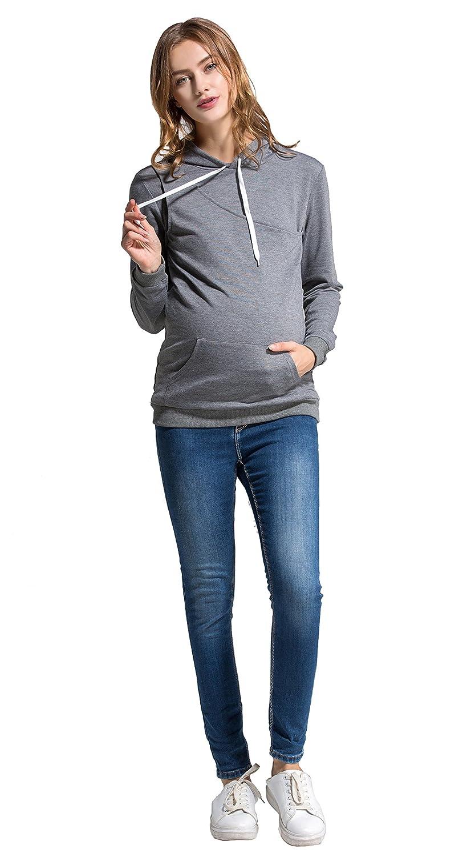 Molliya Womens Maternity Nursing Hoodie Sweatshirt Long Sleeve Breastfeeding Top with Pocket